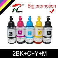HTL 5PK 70ml de tinta corante de recarga de tinta compatíveis para epson L200 L210 L222 L100 L110 L120 L132 L550 L555 L300 L355 L362 impressora de tinta