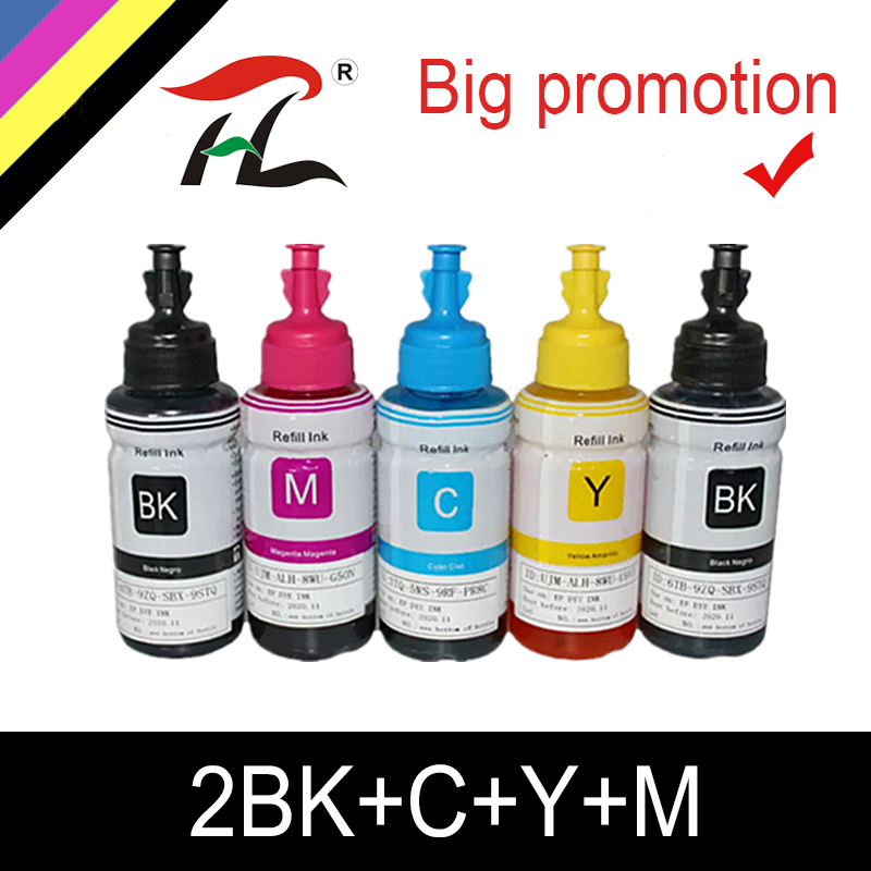 HTL 5PK 70ml dye ink refill ink compatible for <font><b>epson</b></font> L200 <font><b>L210</b></font> L222 L100 L110 L120 L132 L550 L555 L300 L355 L362 <font><b>printer</b></font> ink image