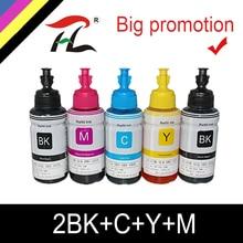 HTL 5PK 70ml 염료 잉크 epson L200 L210 L222 L100 L110 L120 L132 L550 L555 L300 L355 L362 프린터 잉크