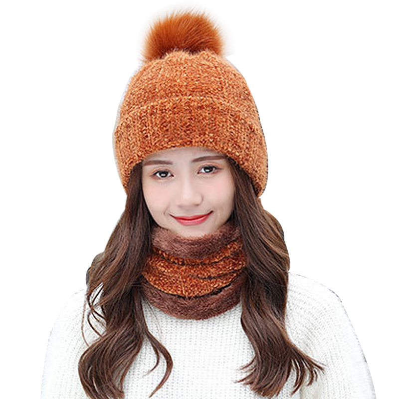 Solid Color Women's Cap Scarf Outdoor 2Set Knit Masks Plus Velvet O-Neck Scarves Lady Beanies Winter Hats For Women Balaclava