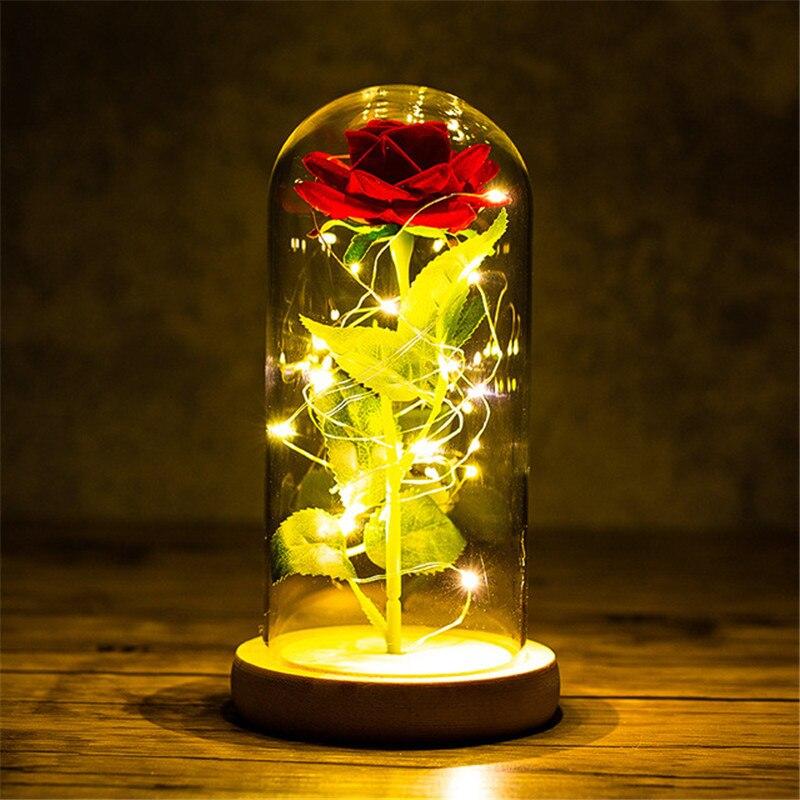 Presente do dia dos namorados para a namorada eterna rosa conduziu a folha de luz flor na cobertura de vidro do dia das mães favores do casamento presente da dama de honra