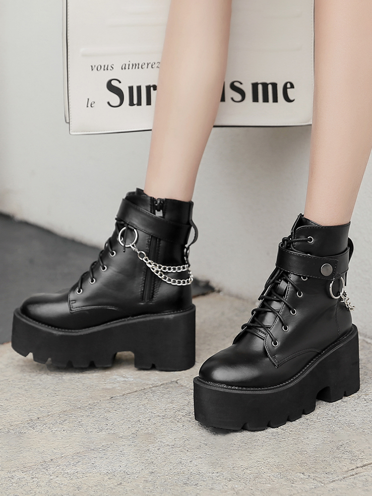 Gdgydh Autumn Boots Chain Platform-Shoes Block-Heel Punk-Style Female Black Sexy Gothic