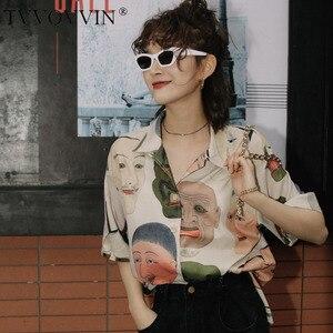TVVOVVIN Japanese Streetwear Ukiyoe Print Summer Blouse Women 2020Collared Button Up Shirt Short Sleeve Top Blouse Clothing 8VP6