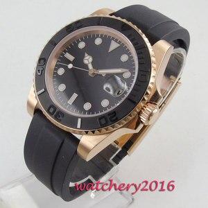 40 мм черный циферблат чехол из розового золота сапфировое стекло матовый керамический ободок MIYOTA 8215 роскошный Автоматический ход мужские часы