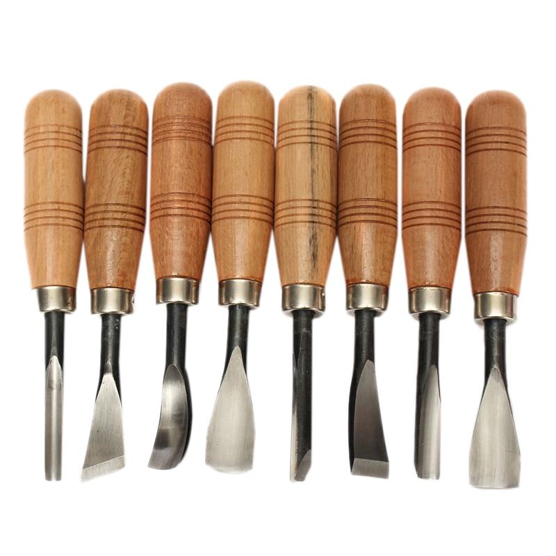 8Pcs/Set Bird Dry Hand Wood Carving Tools Chip Detail Chisel Set Knives Tool