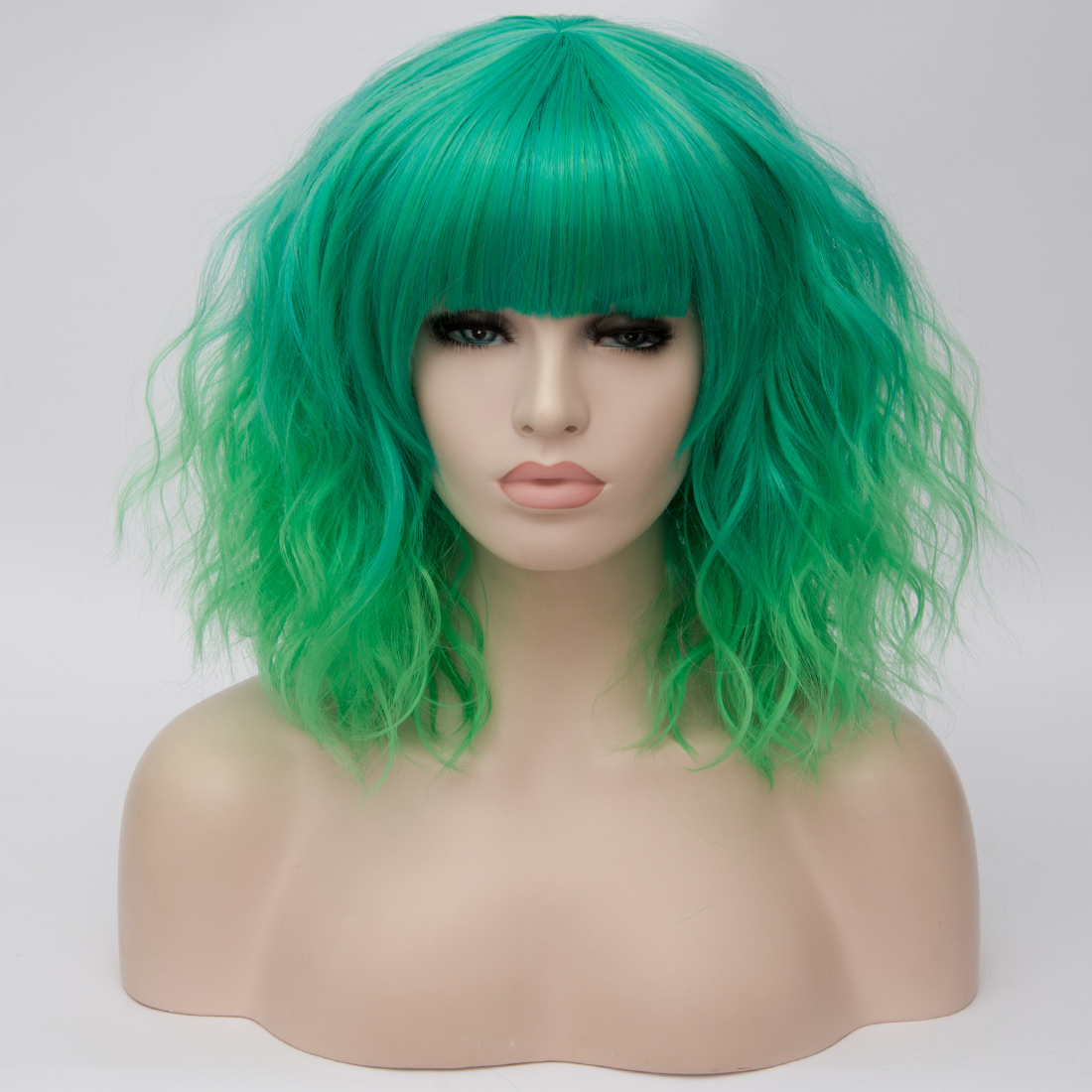 H78e824e1231c4914890a99a97537ed796 - Similler Short Synthetic Wig for Women Cosplay Curly Hair Heat Resistance Ombre Color Blue Purple Pink Green Orange Two Tones