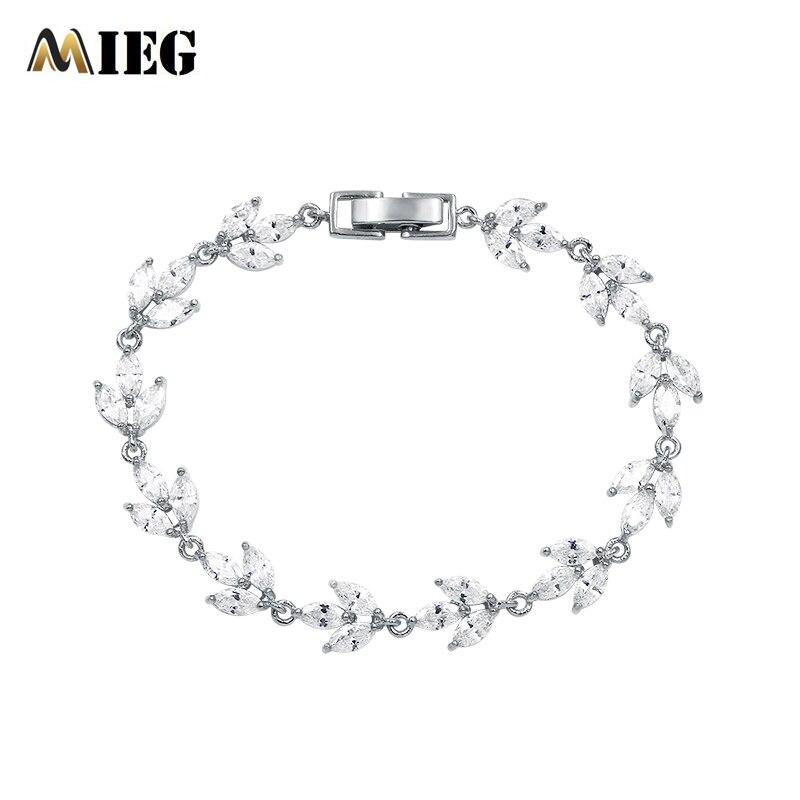 MIEG High Quality Cubic Zirconia Bracelets Bangles For Women Charming CZ Clear Leaf Crystal Link Chain Bracelets