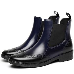 Image 2 - Zapatos de goma para otoño, Botas de lluvia para mujer, Botines Chelsea impermeables, botas de plataforma plana para niña, botines de primavera para mujer laarzen