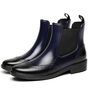 Image 2 - 秋ゴム靴女性レインブーツチェルシーブーツ防水アンクルブーツガールフラットプラットフォームブーツ春ブーツ婦人 laarzen