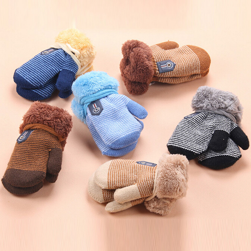 Kids Knitted Gloves Cartoon Winter Warm Thicken Plus Velvet Boy Girls Ski Gloves Children Mittens Toddler Gloves