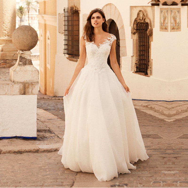 Eightale New Beach Wedding Dress 2019 Appliques Lace A-Line Custom Made O-Neck Wedding Gowns Tulle Sweep Train Bride Dresses