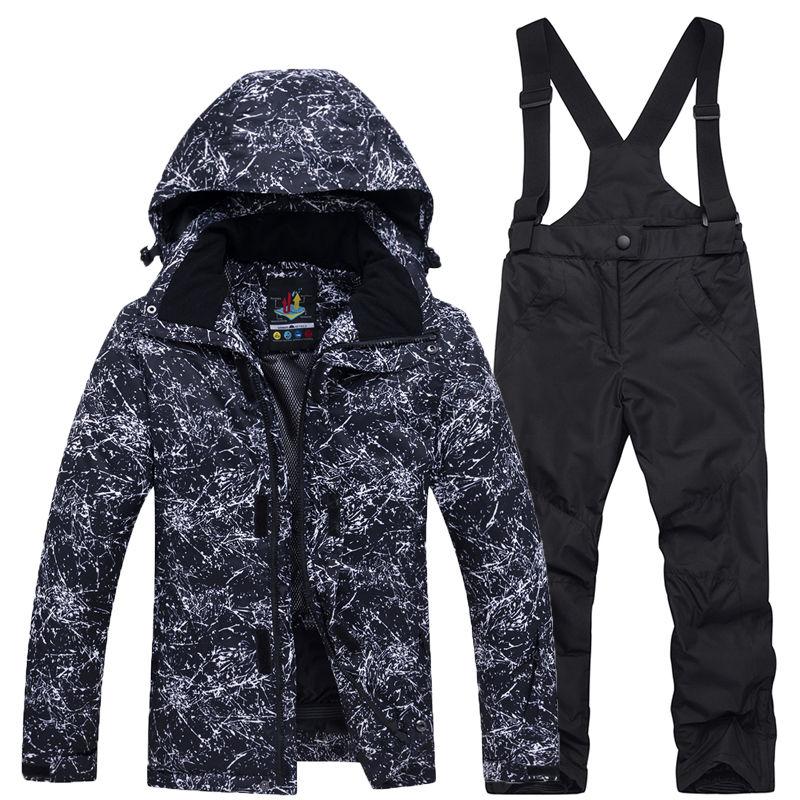 Children Snow Suit Outdoor ski suit set Waterproof windproof Warm Costume winter Snowboarding jacket + bib pant boys and girls|Skiing Jackets| |  - title=