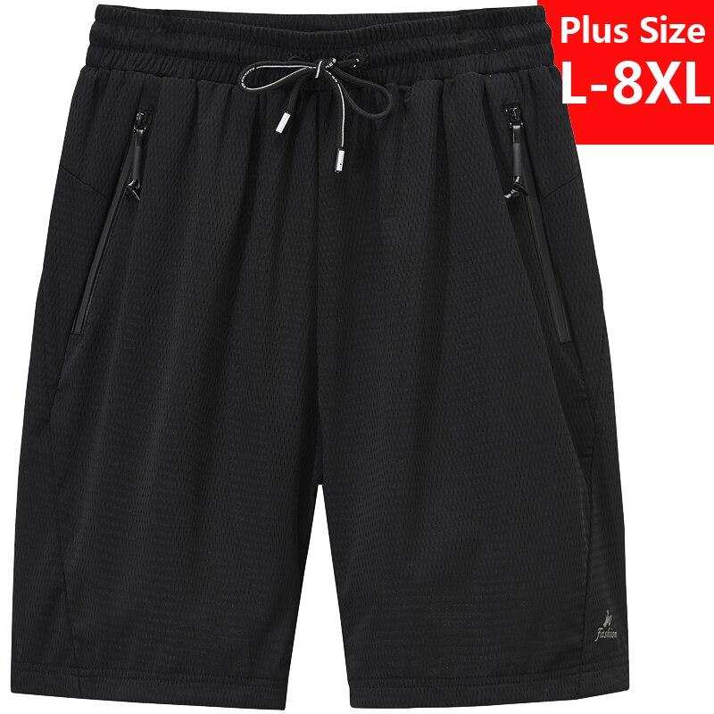 Plus Size L-7XL 8XL Mens Jogger Shorts Super Cool In Summer Quick Dry Short Pants Gyms Fitness Short Pant Beach Shorts Male Boy