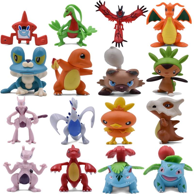 4-9CM Charmander Cubone Torchic Yveltal Dragonite Mega Mewtwo X Venusaur Rotom Rockruff Froakie Anime Action PVC Toys Figures