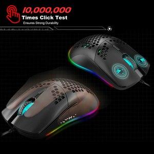Image 5 - Mouse da gioco USB J900 con retroilluminazione RGB con Mouse cablato da 6400 DPI con sei Design ergonomico cavo regolabile per giocatori di Computer Desktop
