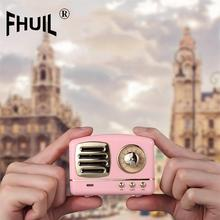 FHUIL Retro Mini Bluetooth Speaker Portable Outdoor Wireless Speaker Sound System 3D Stereo Music Surround Support TF AUX USB 2017 mini bluetooth speaker portable wireless speaker sound system 3d stereo music surround support tf aux usb wholesale