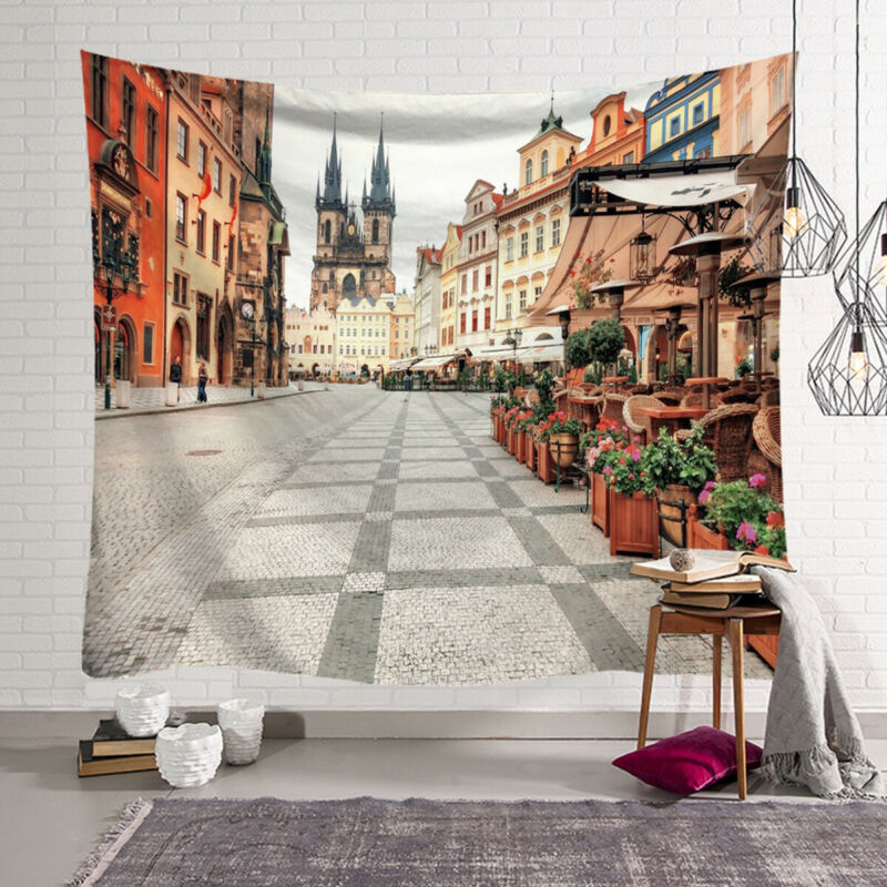 Fashion Small Town Wall Hanging Ancient Town Tapestry Bedspread Throw Home Decor Mat image