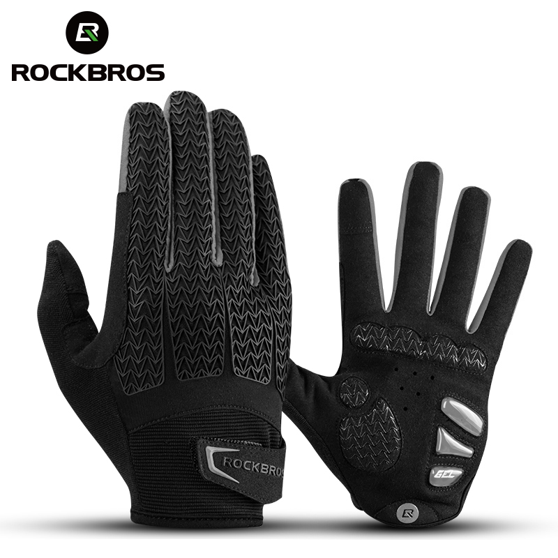 ROCKBROS Cycling Gloves Touch Screen Riding MTB Full Finger Bike Bicycle Glove Windproof Motorcycle Winter Autumn Men Gloves
