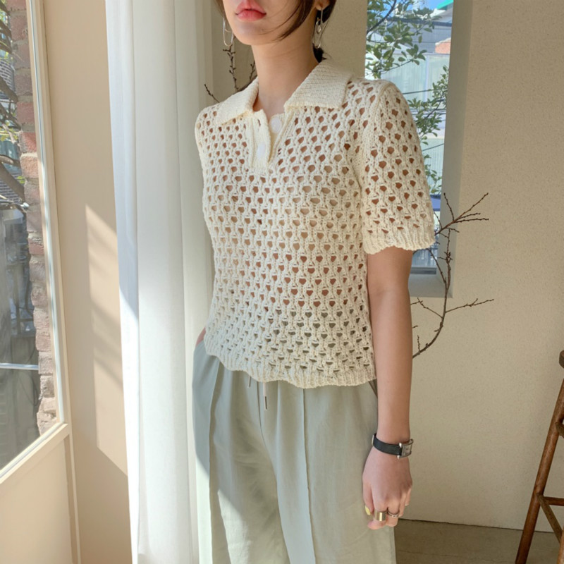 Women Summer Sexy Hollow Out Elegant Short Blouse Knitted Shirt Slim Casual Pullover Smock Tops