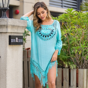 2020 Sexy Lace Hollow Crochet Beach Cover Up Women Bikini Cover Up Beach Dress Tunics Swimsuit Bathing Suits Cover-Up Beach wear 1