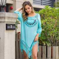 2020 Sexy Lace Hollow Crochet Beach Cover Up Women Bikini Cover Up Beach Dress Tunics Swimsuit Bathing Suits Cover-Up Beach wear