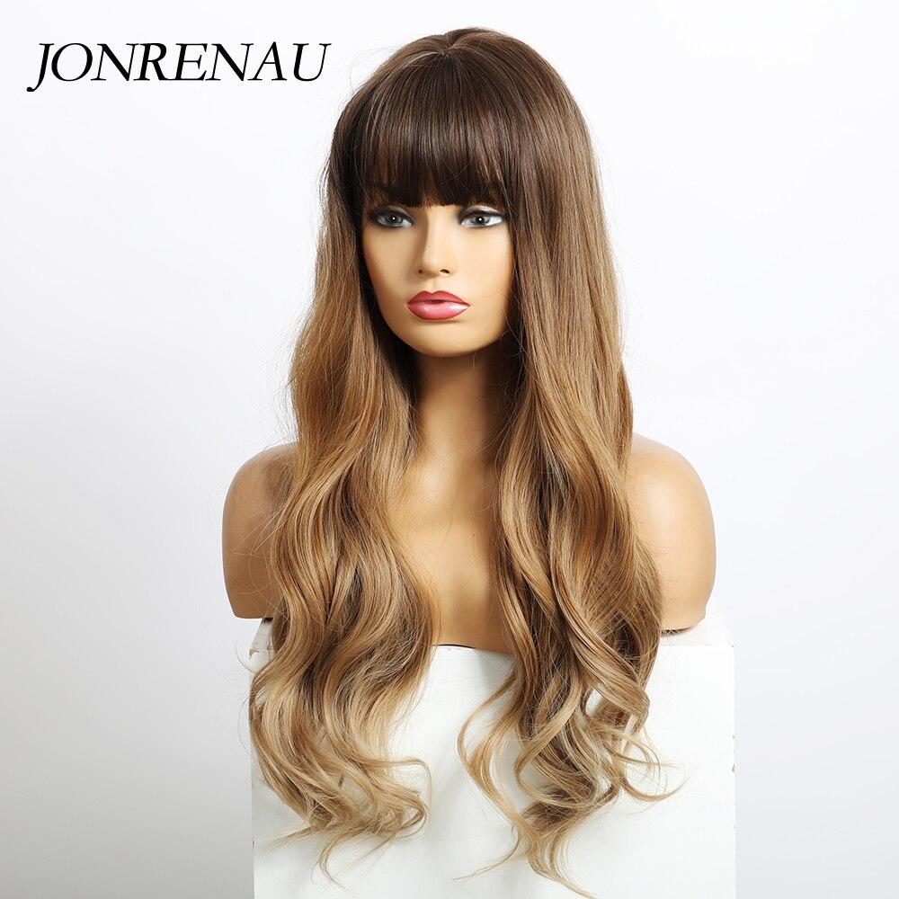 JONRENAU Long Wavy Synthetic Wigs with Bangs Cosplay Salon Brown Blonde Wigs for Women Heat Resistant Fiber Gift