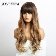 Jonrenau longo ondulado perucas sintéticas com franja cosplay salão de beleza marrom loira perucas para mulher resistente ao calor fibra presente