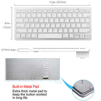 Russian Spanish French German Hebrew Brazil-Portuguese Ultra Slim Universal Wireless Bluetooth Keyboard for iOS Android Win