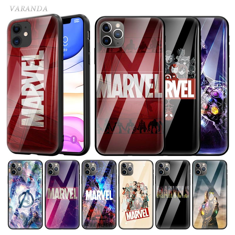 Marvel Comics Logo Glass Case For Apple iphone 11 Pro X XS Max XR 8 7 6 6S Plus Tempered Sac Phone Coque Tasche Movie image