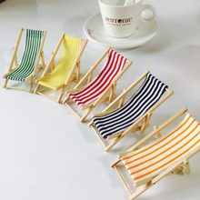 1:12 Mini Doll House Wooden Beach Chair Miniatures Home Scene Furnishings Emulational Furniture model Dollhouse Home Decoration(China)