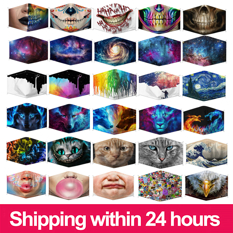 2020 NEW Reusable Face Mouth Mask PM2.5 Filter Anti-Dust Fog Pollution Protective Cartoon Kid Adult Cat Mask Fashion