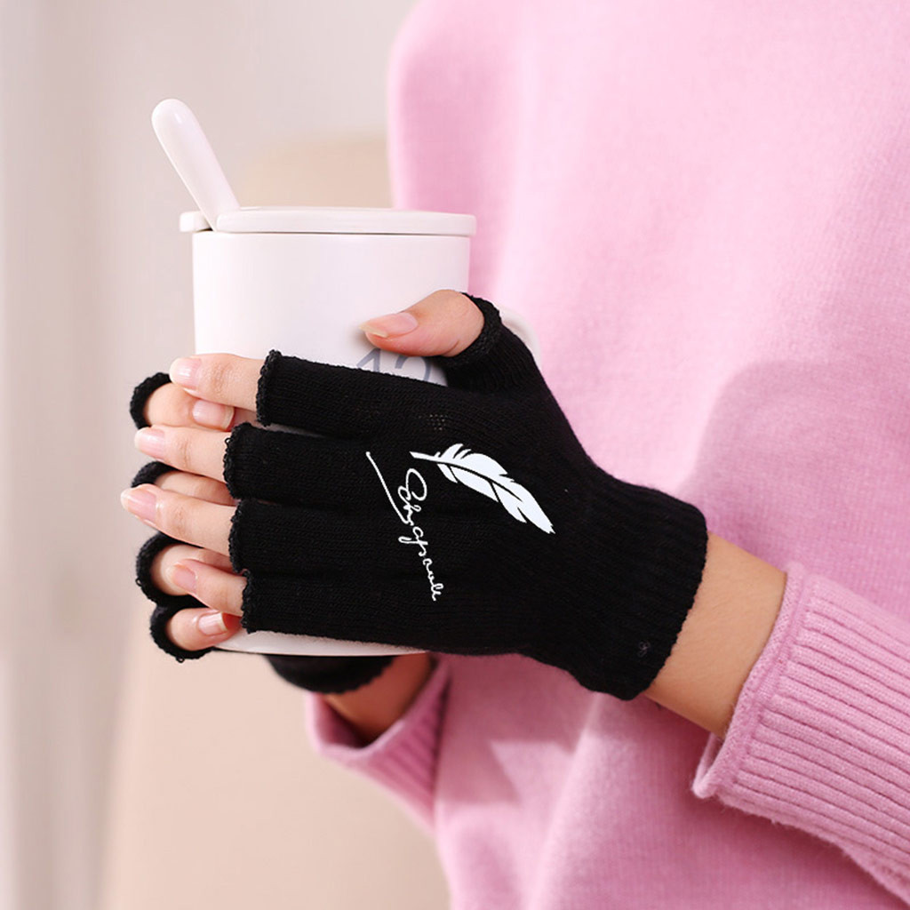 Unisex Warm Men Women Solid Winter Sports Fingerless Stretchy Elastic Knitted Half Finger Thermal Gloves #4