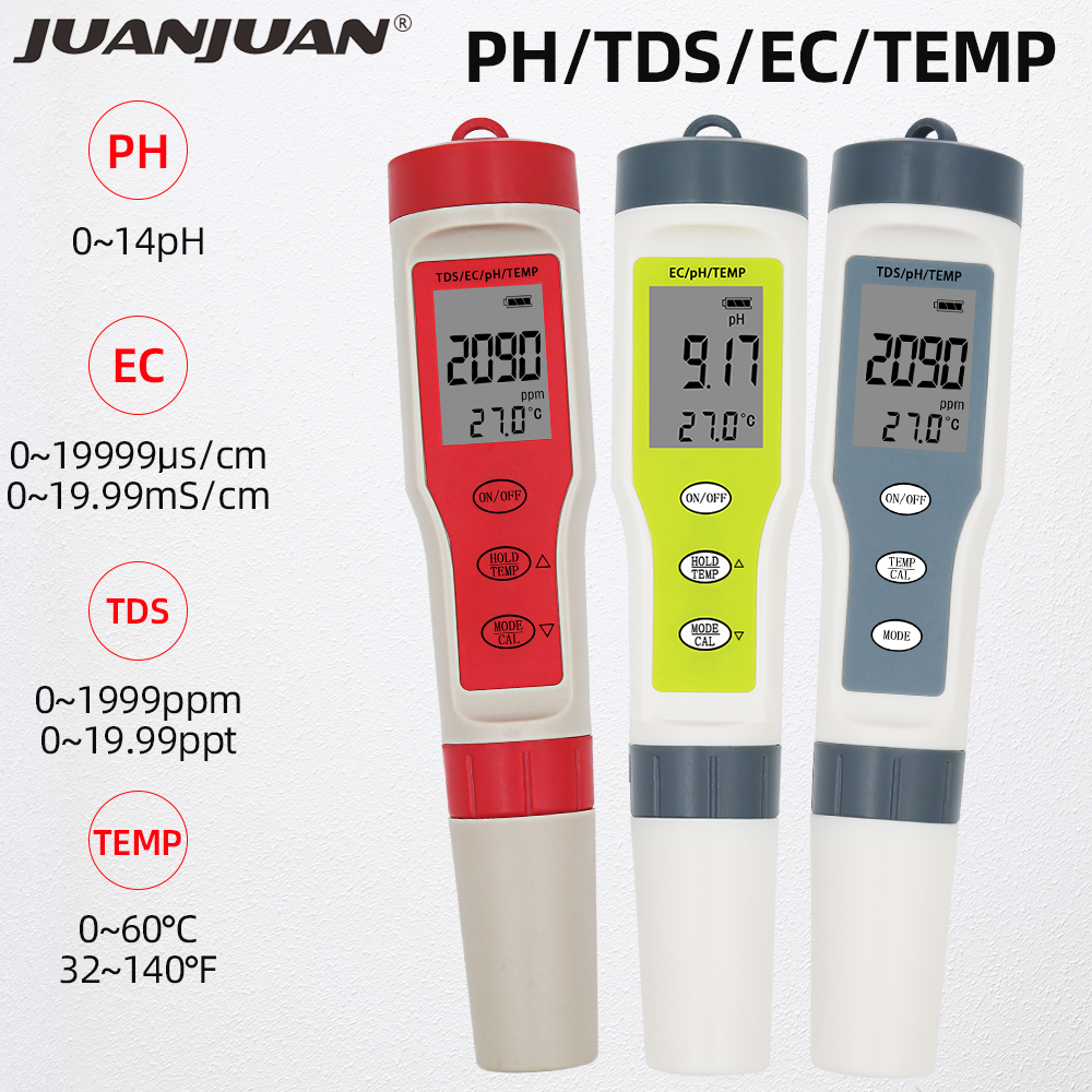 Professional Digital Water Tester 4 In 1/3 In 1 Test EC/TDS/PH/TEMP Water Quality Monitor Tester Kit For Pools Drinking Water