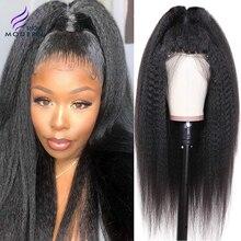 Perruque Lisse Crépue Brésilienne de Modern Show Hair 13x4 Perruques de Cheveux Humains Avant de Lacet Remy Yaki Perruque de Cheveux Humains Perruque Lisse 150% 10-26 Pouces