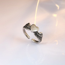 Vintage Heart with Angle Wings Rings for Women Punk Adjustable Finger Rings Ancient Retro Fashion Ring Jewelry Women Girl Gifts