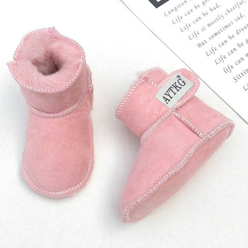2020 Handmade Winter Snow Boots For Baby Leather Sheep Fur Toddler Botas Infant Boots Boy Girls Bootie Kids Snowshoes