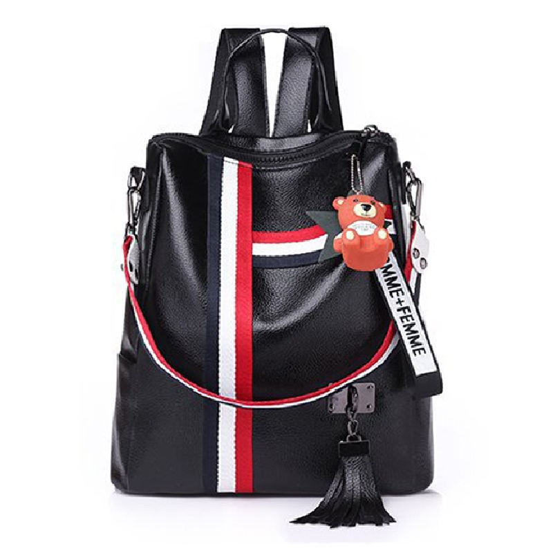 2019 new retro fashion zipper ladies backpack leather high quality school bag shoulder bag for youth bags leather Tassel in Backpacks from Luggage Bags