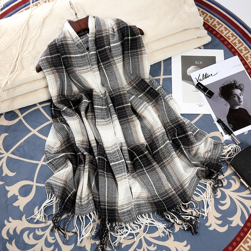 Fashion-Color Plaid Scarf Women's Winter Warm Faux Cashmere Scarf Tassels Shawl Manufacturers Currently Available Wholesale