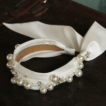 White satin bride headbands Wedding Headwear Bridal Princess Tiara wedding hair Accessories