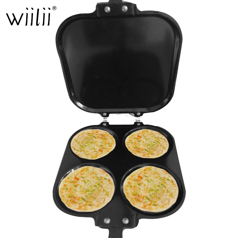 Wiilii 4 Cups Egg Cast Iron Skillet Non-Stick Frying Pan Skillet Pan For Stove Top Oven Use Outdoor Camping Nonstick Frying Pan