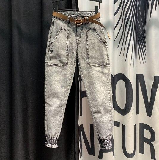 Fashion Denim Jeans Woman 2020 Spring Loose Harem Pants New Pockets Beam Leg Skinny Jeans High Waist Jeans Students