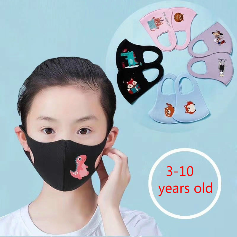 10PCS Cartoon Child Face Mask For Baby Kids Anti  Dustproof Smoke Pollution Mask With Ear Loop Washable Respirator Mask