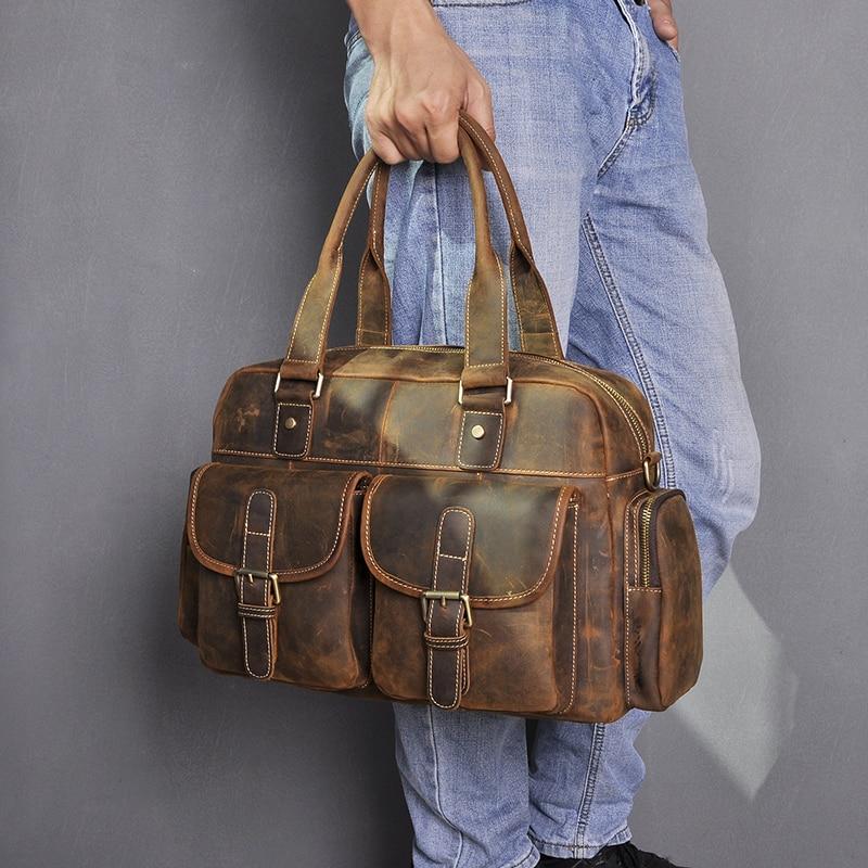 Hot Sale Design Leather Coffee Casual Fashion Men Briefcase Business Laptop Case Attache Messenger Bag Tote Bag For Men 061-c