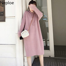 Neploe 2019 New Autumn Winter Hooded A Line Maxi Sweater Dress Knitted Long Sleeve Pull Femme Thick Pullovers Women 46591(China)