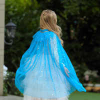 Girls Tippet Princess Cloak Fancy Sequins Cape Elsa Cinderella Sofia Belle Ariel Dress Up Kids Party New Year Costumes For Girl
