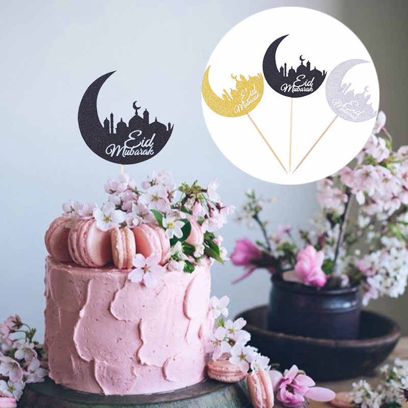 10/20Pcs Glitter Gold Silver Black Moon Shape EID Mubarak เค้ก Topper อิสลามมุสลิม Al-Fitr Lessar Eid ramadan Decor PARTY Supplies