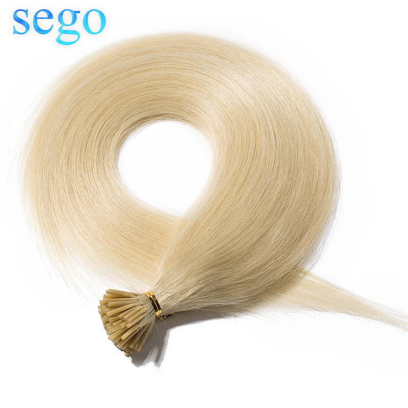 SEGO 16''-22'' 50g 100 Strands Straight 100% Human Hair I Tip Stick Keratin Hair Extensions Pre Bonded Non-Remy Mcro Ring Hair