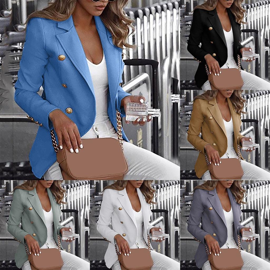 Small Work Blazer Cardigan Women's Office Ladies Loose Long Sleeve Button блейзер Plus Size 5XL Casual Jacket Wear Coat Blouse