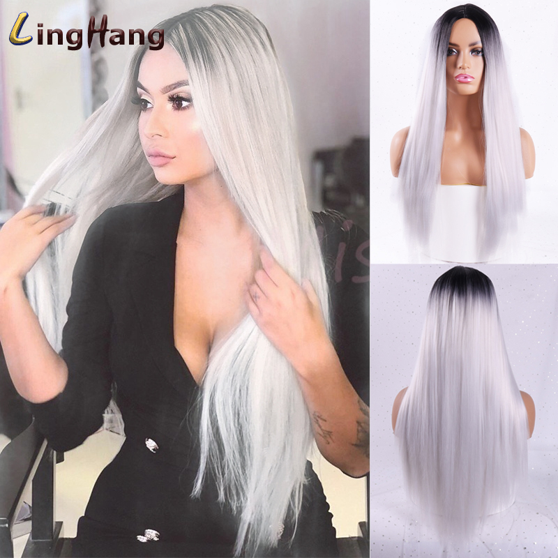 Linghang  Long Straight Synthetic Wig Mixed Brown And Blonde Long Wigs For White /Black Women Middle Part Nature Wigs