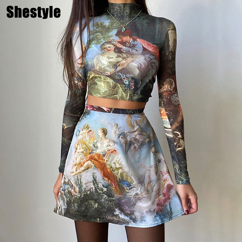 Shestyle Oil Painting Printed New Style 2020 Spring High Neck Crop Top A Line Skirt Angel Sexy 2 Two Piece Set Tide Trendy Hot